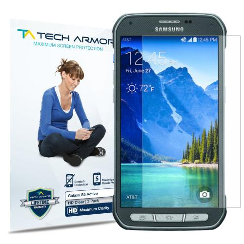 Tech Armor Samsung Galaxy S5 Active High Definition (HD) Clear Screen Protectors [3-Pack]