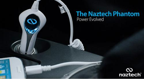 Naztech White Rapid Car Charger w/ Lightning Connector & 9.5 ft. Cable (2100 mAh) - MFI Certified