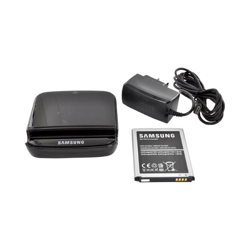 OEM Samsung Galaxy S3 Spare Battery Charging System w/ Micro USB Charger & Battery - Black