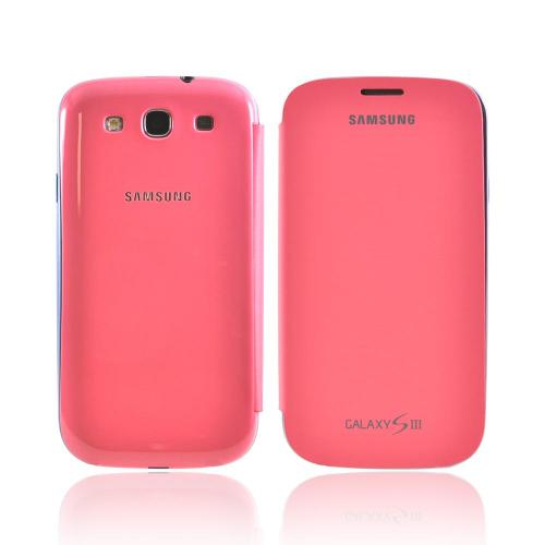 OEM Samsung Galaxy S3 Protective Flip Cover Hard Case, EFC-1G6FPEGSTA - Hot Pink