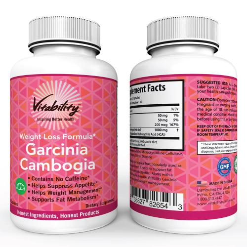 Vitability Garcinia Cambogia [Weight Lose Formula] 60 Capsules Dietary Supplement; Contains No Caffeine, Helps Suppress Appetite, Supports Fat Metabolism