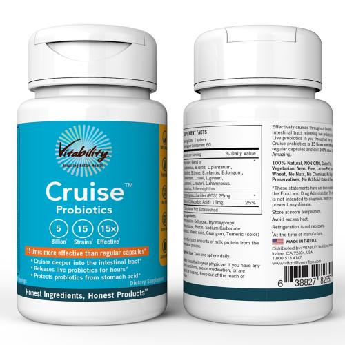 Vitability Cruise Probiotics; 60 Servings Dietary Supplement; Releases Live Probiotics For Hours And Protects Probiotics From Stomach Acid! - 15 Times More Effective!