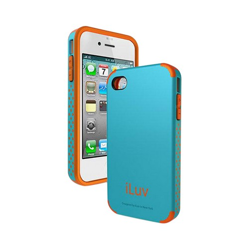 iLuv Teal/ Coral Hybrid Hard Case Regatta Series for Apple iPhone 4/4S