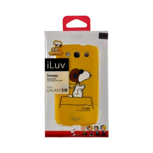 iLuv Yellow Aviator Snoopy Rubberized Hard Back Cover for Samsung Galaxy S3