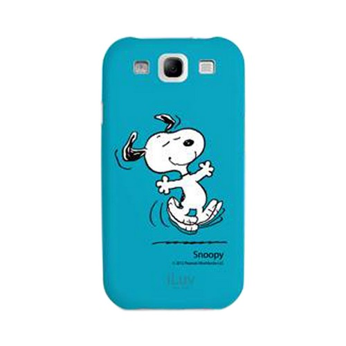 iLuv Peanuts Happy Snoopy on Blue Rubberized Hard Case for Samsung Galaxy S3