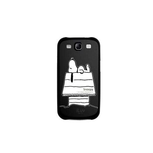 iLuv Peanuts Sleepy Snoopy on Black Rubberized Hard Case for Samsung Galaxy S3