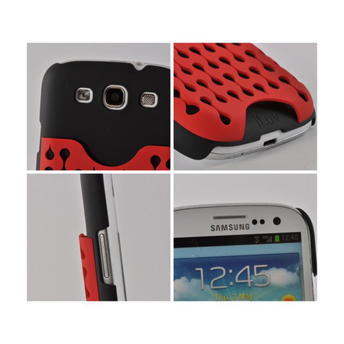iLuv Red/ Black Rubberized Hard Case Frill Series w/ ID Slots for Samsung Galaxy S3