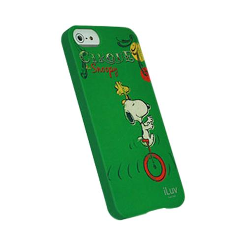 Apple iPhone SE / 5 / 5S  Case, iLuv [Green Snoopy] Vintage Series I Hard Shell Case - ICA7H382GRN