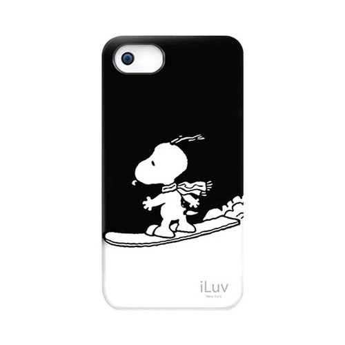 Apple iPhone SE / 5 / 5S  Case, iLuv [Peanuts Snowboarding Snoopy]  Black Rubberized Hard Case
