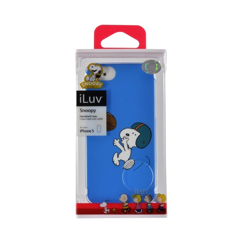 Apple iPhone SE / 5 / 5S  Case, iLuv [Peanuts Football Snoopy]  Blue Rubberized Hard Case