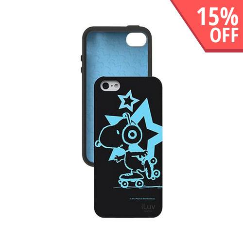 iLuv Peanuts Glow In The Dark Rollerskating Snoopy in Black Silicone Case for Apple iPhone 5