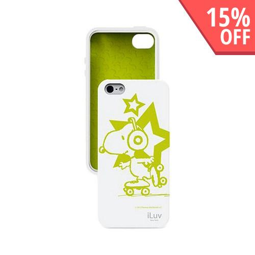 iLuv Peanuts Glow In The Dark Rollerskating Snoopy in White Silicone Case for Apple iPhone 5