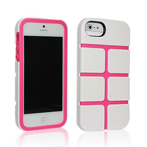 Apple iPhone SE / 5 / 5S  Case, Incase Systm [White/ Pink] Chisel Series Hard Case