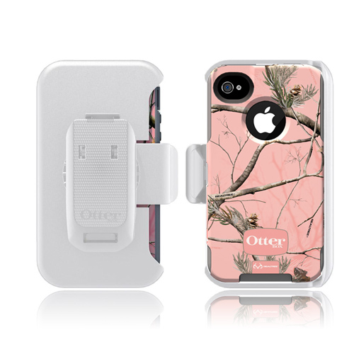 Otterbox AT&T/ Verizon Apple iPhone 4, iPhone 4S Defender Series Hard Case w/ Built-In Screen Protector & Holster - Pink Camo