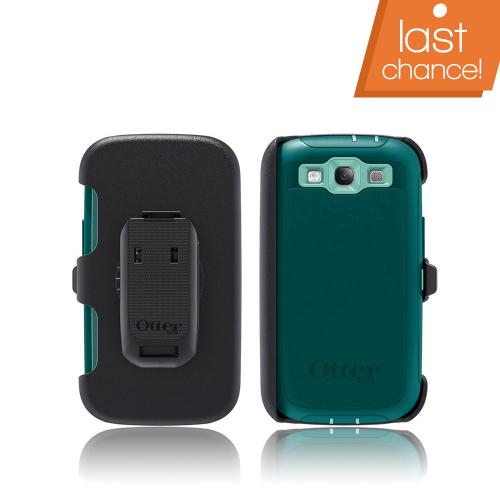 OEM Otterbox Samsung Galaxy S3 Defender Series Silicone Over Hard Case w/ Holster - Reflection Dark/ Light Teal