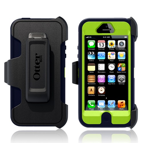 Otterbox Atomic Navy/ Lime Green Defender Series Silicone Over Hard Case w/ Holster & Screen Protector for Apple iPhone 5