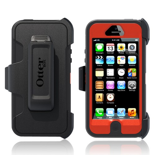 Otterbox Dark Gray/ Orange Defender Series Silicone Over Hard Case w/ Holster & Screen Protector for Apple iPhone 5