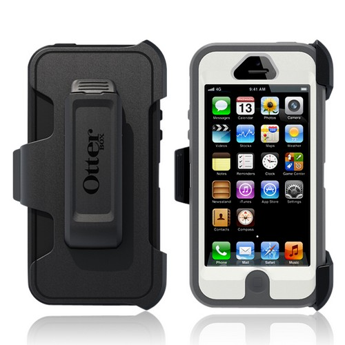 Otterbox Gray/ White Defender Series Silicone Over Hard Case w/ Holster & Screen Protector for Apple iPhone 5