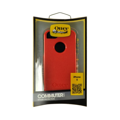 Otterbox Red/ Black Commuter Series Hard Case Over Silicone w/ Screen Protector for Apple iPhone 5