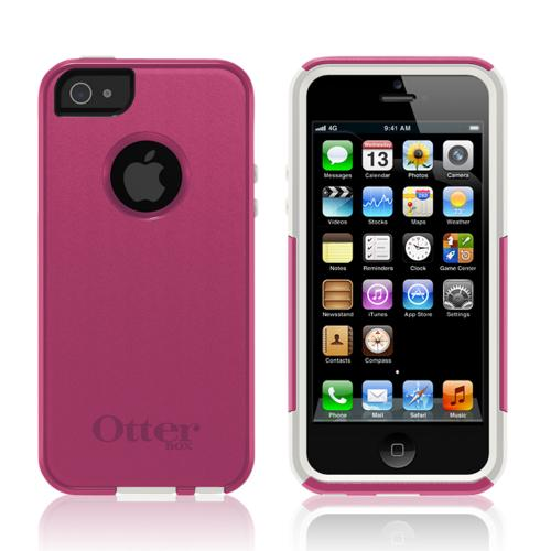 Otterbox Avon Pink/ White Commuter Series Hard Case Over Silicone w/ Screen Protector for Apple iPhone 5