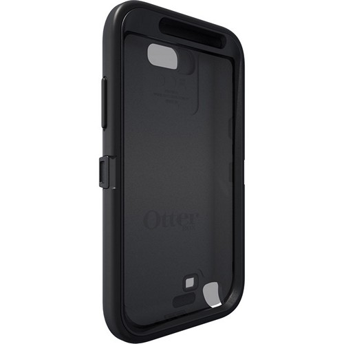 Otterbox Black Defender Series Silicone Over Hard Case w/ Holster & Built-In Screen Protector for Samsung Galaxy Note 2