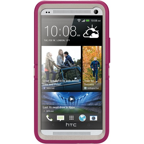 Otterbox Blush (Hot Pink/White) Defender Series TPU Over Hard Case w/ Holster & Built-In Screen Protector for HTC One