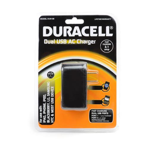 Duracell Black Universal Dual USB Travel/ Home Charger Adapter (3.1A) - DU6108