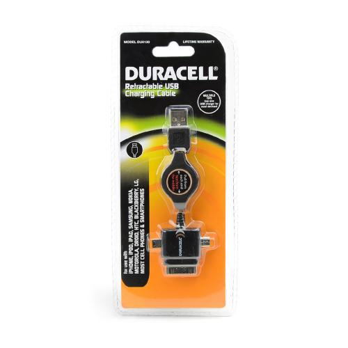 Duracell Black Universal 3-in-1 Usb Retractable Charge & Sync Cable W/ Micro Usb, Mini Usb, & Apple Iphone/ Ipod Adapter (excluding Lightning)