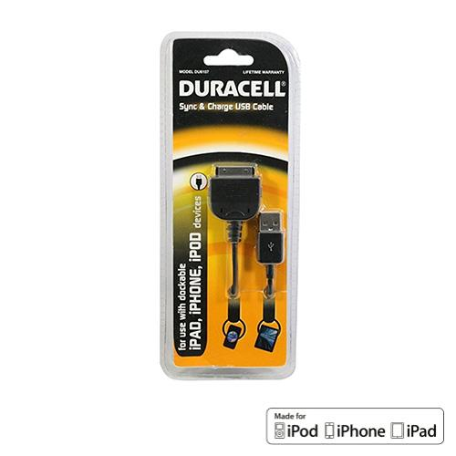 Duracell Black Universal Apple iPhone/ iPad (Excluding Lightning) Charge & Sync Data Cable (2.1 A) - DU1579