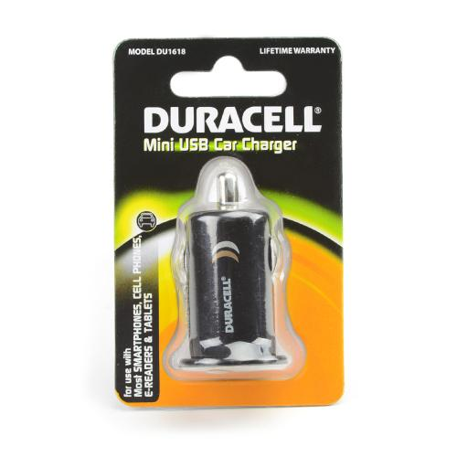 Duracell Black Universal USB Car Charger Adapter (1A) - DU1618