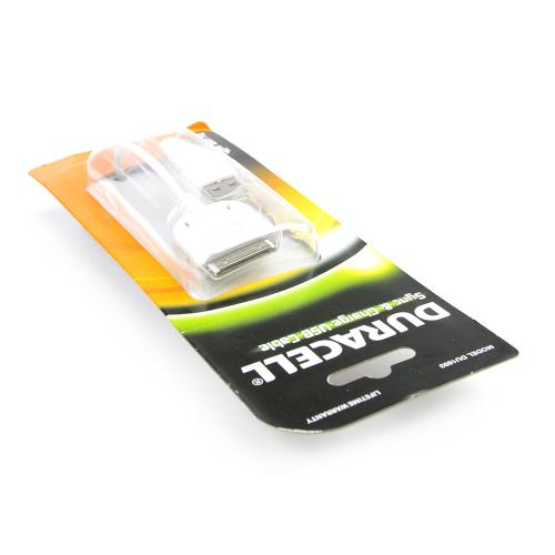 Duracell White Apple iPhone (Excluding Lightning) Charge & Sync Data Cable (1A) - DU1693