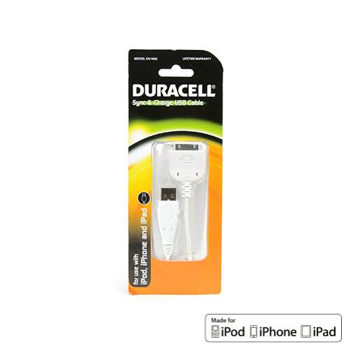 Duracell White Universal Apple iPhone (Excluding Lightning) Charge & Sync Data Cable (1A) - DU1693