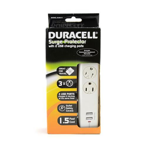 Duracell White Universal 3 Outlet Surge Protector w Swivel Safety Covers & 2 USB Charging Ports - DU6213