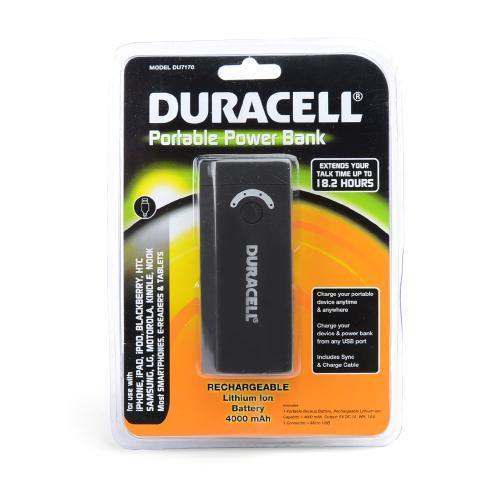 Duracell Universal Portable Power Bank (4000 mAh) with Micro USB & USB Ports [DU7170]