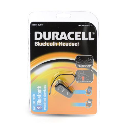 Duracell Black Universal Bluetooth Headset w/ Multi-Function Button & Wall Charging Adapter - DU2101