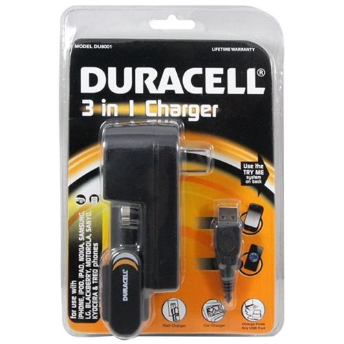 Duracell Black Ultimate 3-in-1 Charger (Car/Home/USB) w/ Micro USB, Mini USB, and iPhone (Excluding Lightning) - DU8001