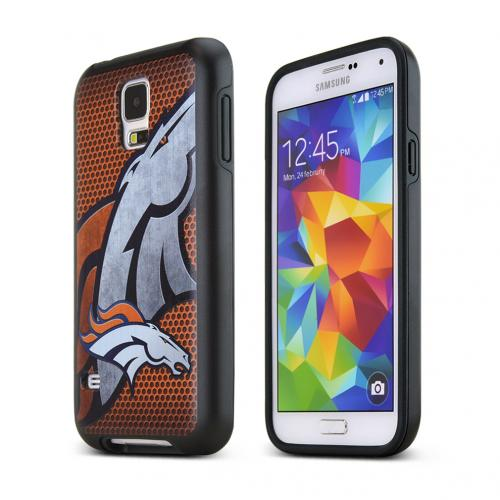 NFL Licensed Samsung Galaxy S5 Denver Broncos Rugged Dual Hybrid Hard Cover on TPU Case - Support Your Team!