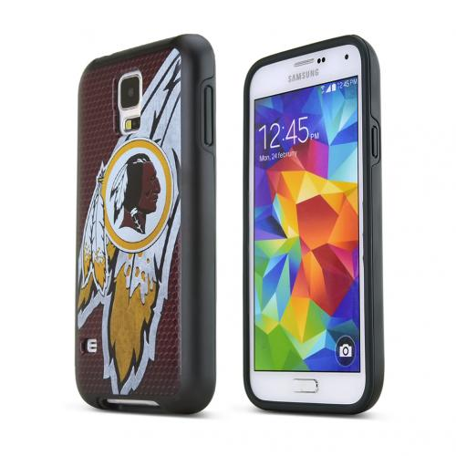 NFL Licensed Samsung Galaxy S5 Washington Redskins Rugged Dual Hybrid Hard Cover on TPU Case - Support Your Team!