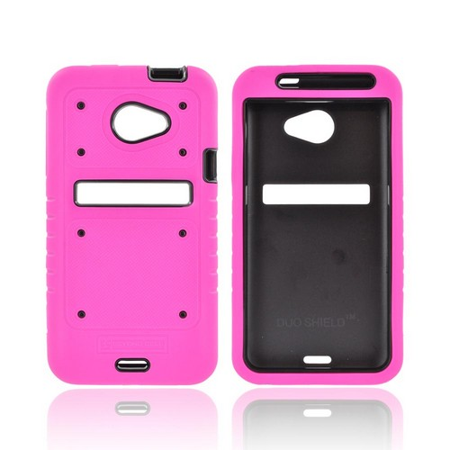 HTC EVO 4G LTE Duo Shield Silicone Over Hard Case w/ Screen Protector - Hot Pink/ Black