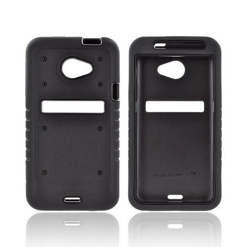 HTC EVO 4G LTE Duo Shield Silicone Over Hard Case w/ Screen Protector - Black