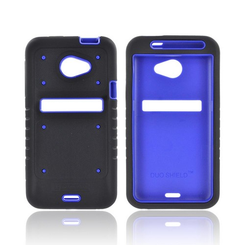 HTC EVO 4G LTE Duo Shield Silicone Over Hard Case w/ Screen Protector - Black/ Blue