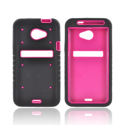 HTC EVO 4G LTE Duo Shield Silicone Over Hard Case w/ Screen Protector - Black/ Hot Pink