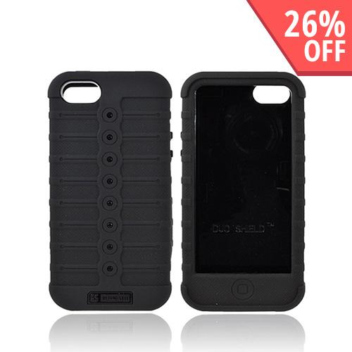 Apple iPhone 5 Duo Shield Silicone Over Hard Case w/ Screen Protector - Black