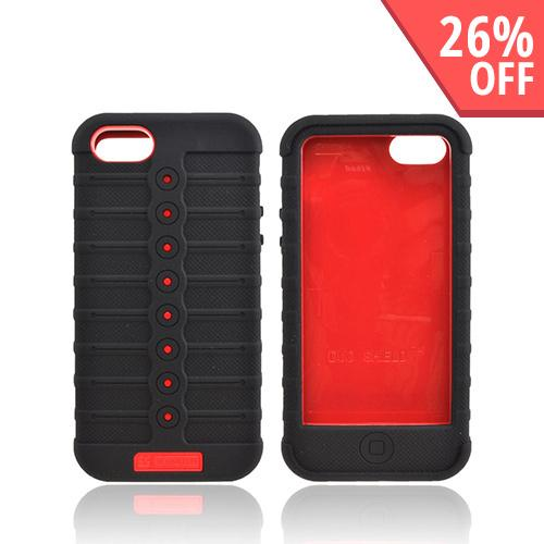 Apple iPhone SE / 5 / 5S  Case, Duo Shield [Red/ Black]  Silicone Over Hard Case w/ Screen Protector