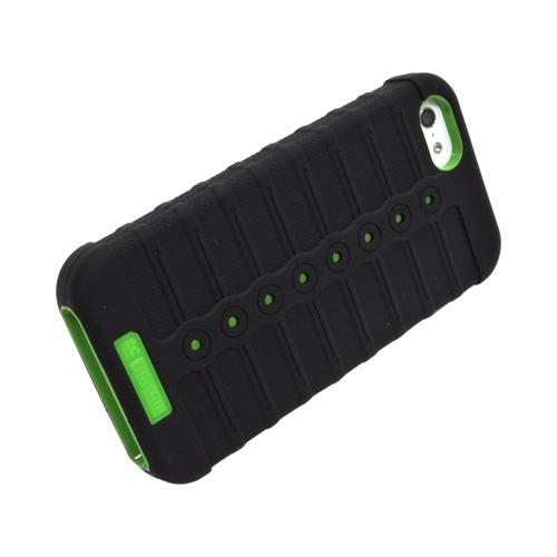 Apple iPhone SE / 5 / 5S  Case, Duo Shield [Black/ Neon Green]  Silicone Over Hard Case w/ Screen Protector