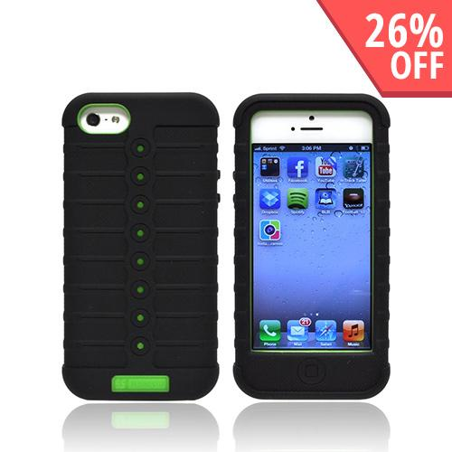 Apple iPhone 5 Duo Shield Silicone Over Hard Case w/ Screen Protector - Black/ Neon Green