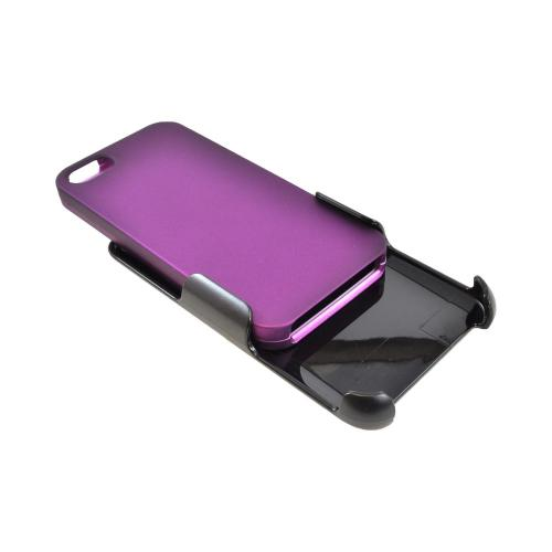 Apple iPhone SE / 5 / 5S  Case,  [Purple/ Black]  Rubberized Hard Case w/ Holster Swivel Belt Clip w/ Screen Protector