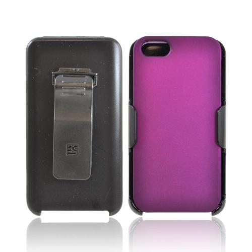 Apple iPhone 5/5S Rubberized Hard Case w/ Holster  Swivel Belt Clip & Screen Protector - Purple/ Black