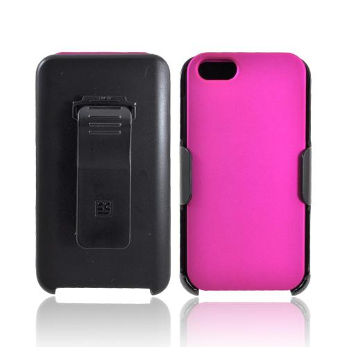 Apple iPhone 5/5S Rubberized Hard Case w/ Holster  Swivel Belt Clip & Screen Protector - Hot Pink/ Black