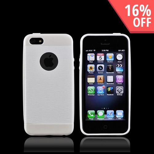 Apple iPhone 5/5S Inflex Crystal Silicone Case w/ Textured Back & Screen Protector - Solid White